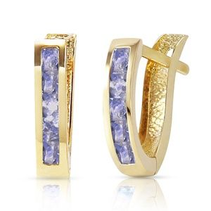 14K SOLID GOLD HUGGIE HOOP EARRING WITH TANZANITES